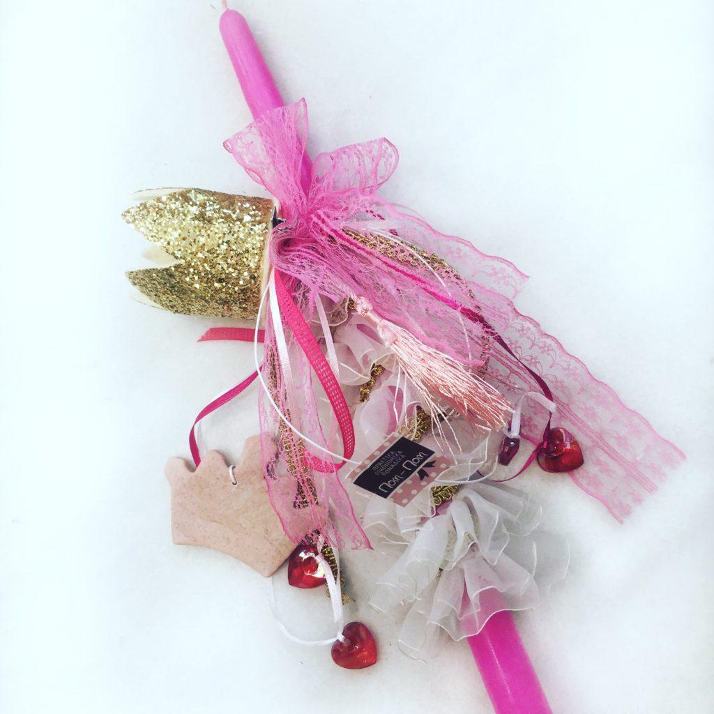 Ροζ πασχαλινή λαμπάδα για κορίτσι με στέμμα στεκάκι για τα μαλλιά.