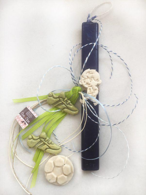 Πασχαλινή λαμπάδα για αγόρι ποδοσφαιριστής.