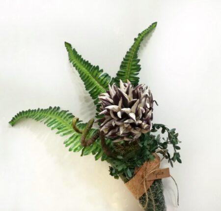 Συμάτινη ανθοδέσμη για γενέθλια με υφασμάτινα λουλούδια.