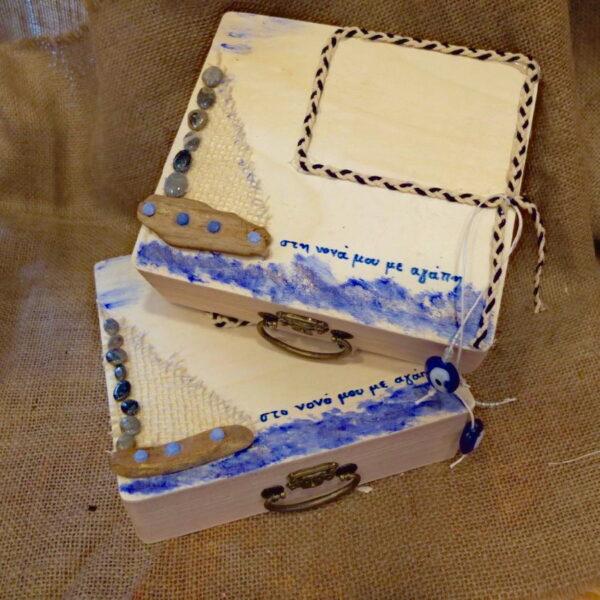 Με θέμα θάλασσα ξύλιν κουτί για το νονό και τη νονά.