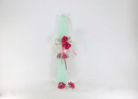 Λαμπάδα για γυναίκα με καρφίτσα, κόσμημα, και δαχτυλίδι τριαντάφυλλο.