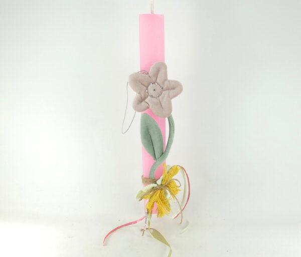 Ροζ λαμπάδα για κορίτσι με διακοσμητικό υφασμάτινο λουλούδι.