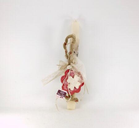 Πασχαλινή λαμπάδα με κόκκινο λουλούδι, για κορίτσι.