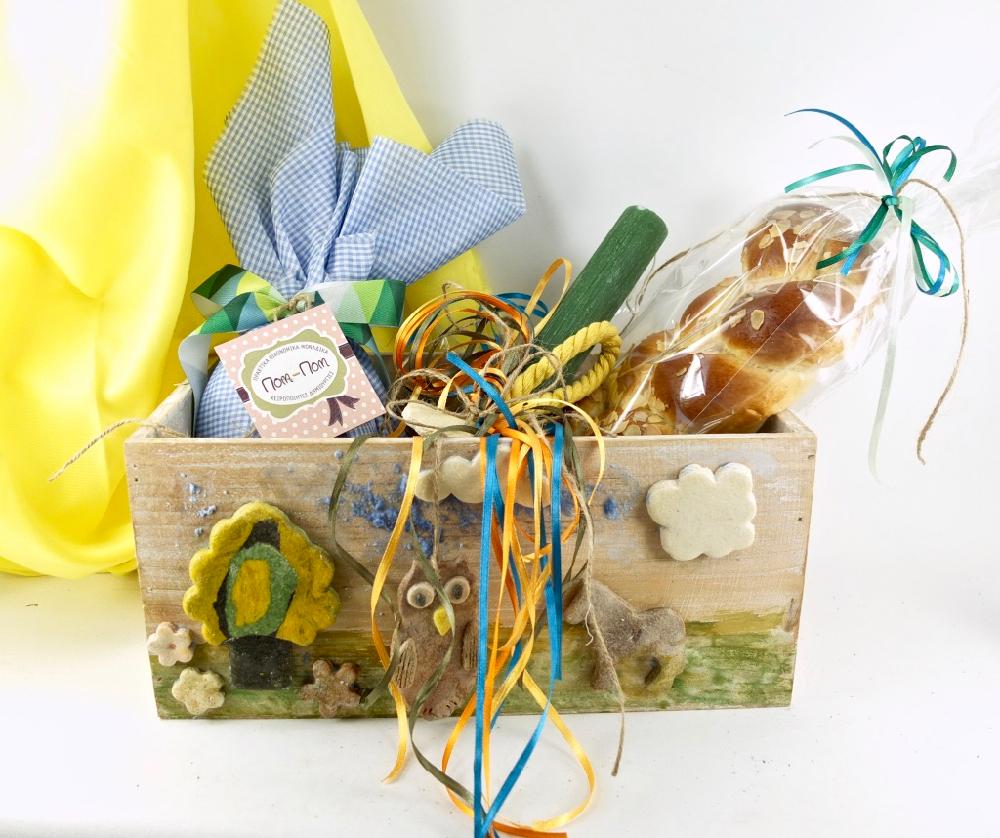 Σετ, πασχσαλινή λαμπάδα και ξύλινο κουτί με ζώα του δάσους..